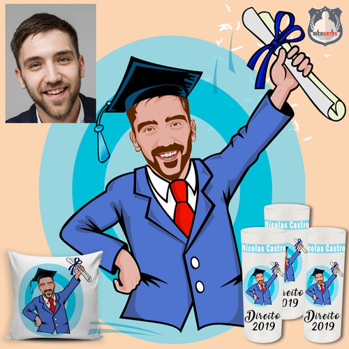 caricatura para formandos personalizar brindes de formatura