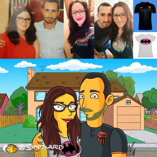 caricaturas simpsons recuerdos bodas parejas san valentin