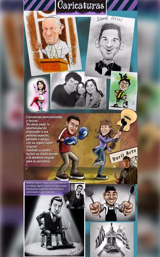 caricaturas y retratos. digitales y técnicas combinadas.