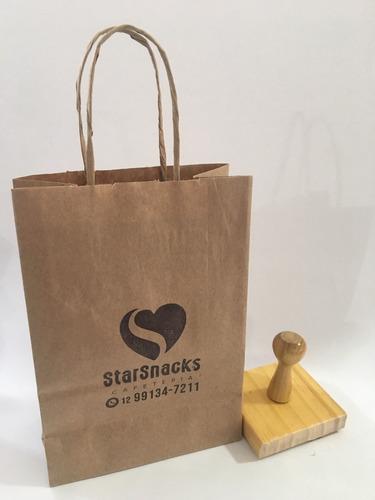carimbo sacola kraft até 10x10cm + almofada com tinta