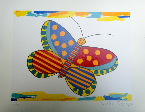 carlos furtado - borboleta colorida 2 - linda serigrafia!