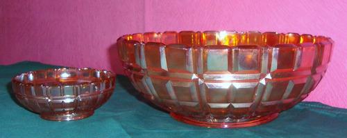 carnival glass - quartered block - centro y 12 compoteras