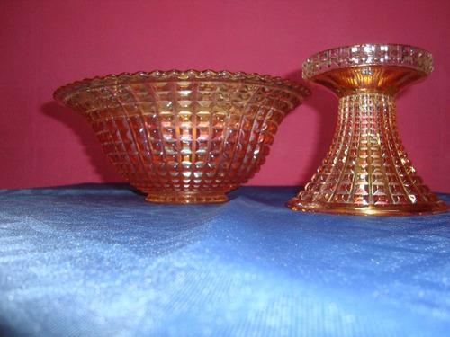 carnival glasss - ponchera punta de diamante y 12  tazas