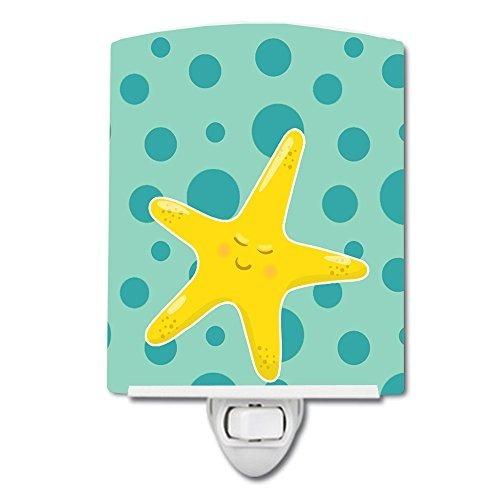 carolines treasures beach ceramic night light, starfish, blu