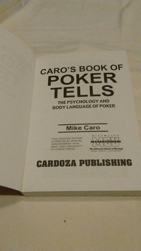 caro's book of poker tells mike caro