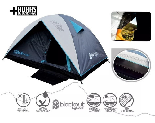 carpa 2 personas impearmeable mosquitero blackout ecology