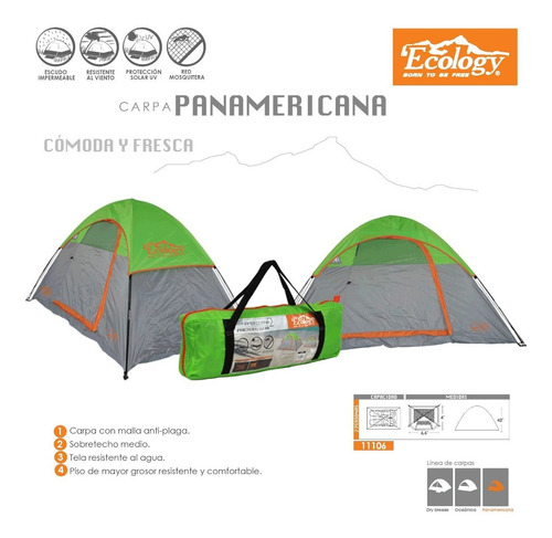 carpa 2 personas impearmeable mosquitero camping ecology