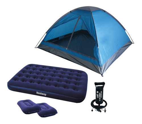 carpa 4 personas + colchon 2 plazas + inflador + 2 almohadas