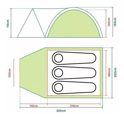 carpa coleman darwin 3 + con abside 3000 mm waterproof°
