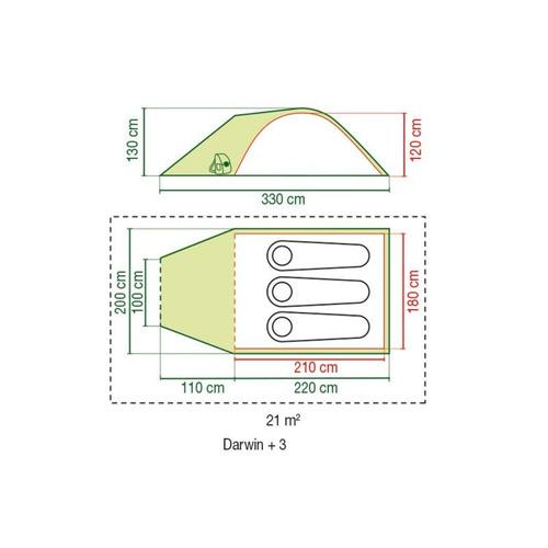 carpa coleman darwin 3+ para 3 personas con abside 3000mm