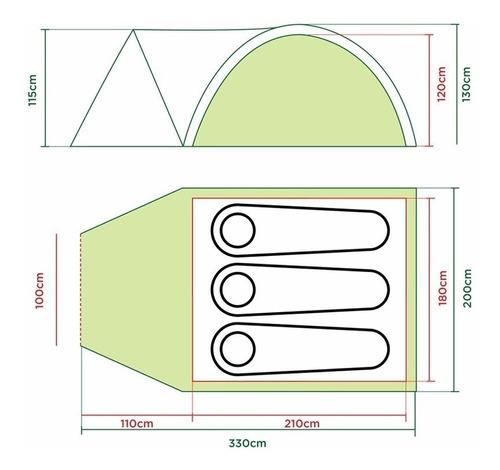 carpa coleman darwin 3+ para 3personas con abside 3000mm