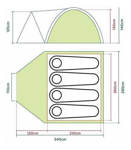 carpa coleman darwin 4+ para 4 personas con abside 3000mm