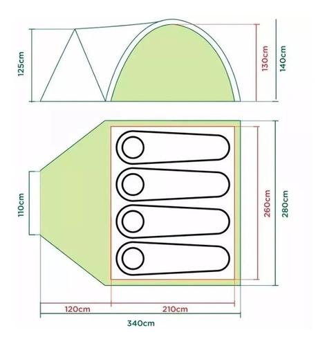carpa coleman darwin 4 pers con abside 3000 mm waterproof°