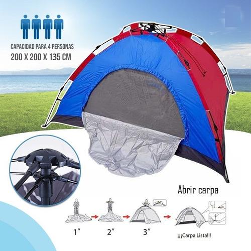 carpa de camping plegable automática 4 personas inclu bolso
