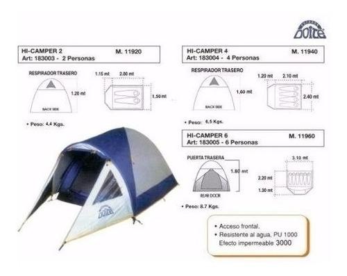 carpa doite hi camper 2 iglu mochilero 3000 mm impermeable