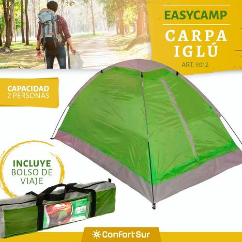 carpa easycamp 9012 2 personas 230 x 160 x 110 cm + env *7