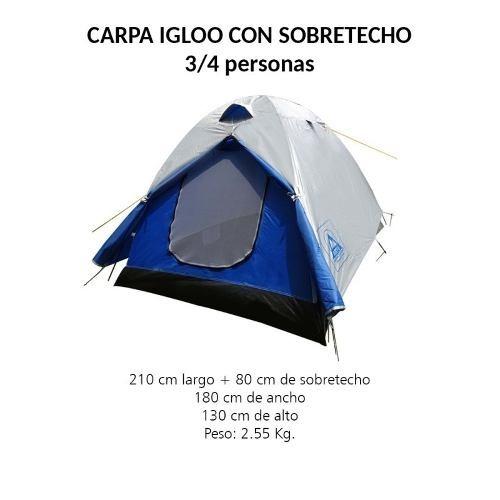 carpa iglu techo arye c483 3 personas envio gratis metinca