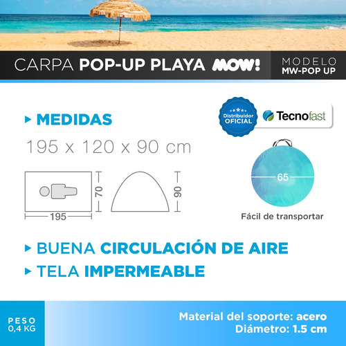 carpa playa autoarmable 2 personas pop up protección uv