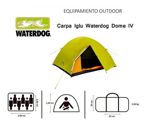 carpa waterdog dome para 6 personas tipo iglu local palermo°