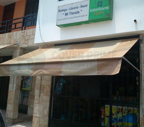 carpas toldos enrrollables empotrados estructuras techos