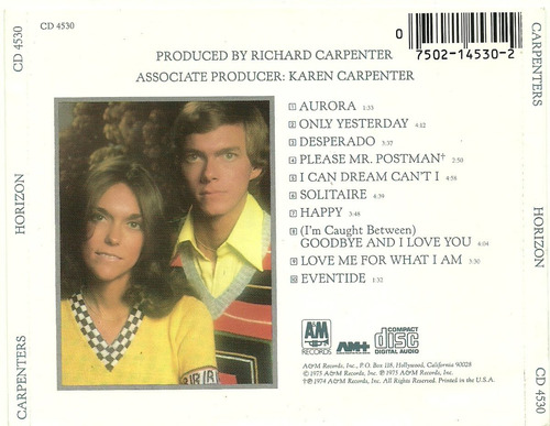 carpenters horizon - cd importado u.s.a.