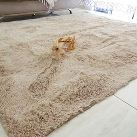 Carpeta Alfombra Beige Piel Sintetica Pelo Alto 2 X 2.4 Mt