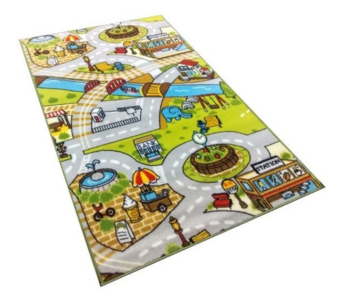 carpeta alfombra infantil pista autos 67x120 plaza elefante