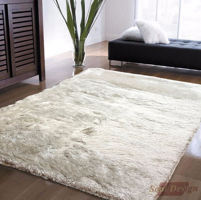 carpeta alfombra shaggy bengala blanca 140 x 200cm