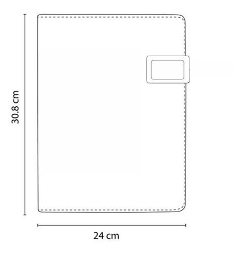 carpeta con placa metalica, compartimiento para celular