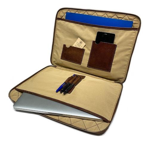 carpeta de cuero con cierre oficio funda porta notebook 15.6