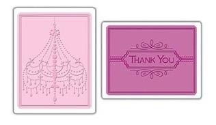 carpeta de repujado - embossing folder- chandeleir & thank u