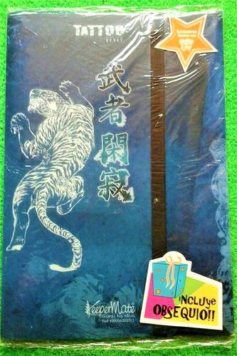 carpeta plástica oficio con  liga  keepeer tattoo  azul