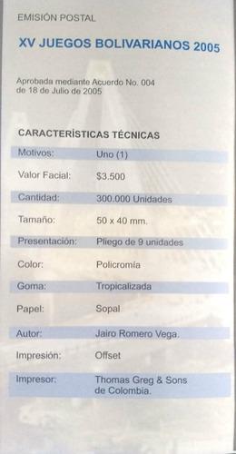 carpeta xv juegos bolivarianos 2005-filatelia-estampillas