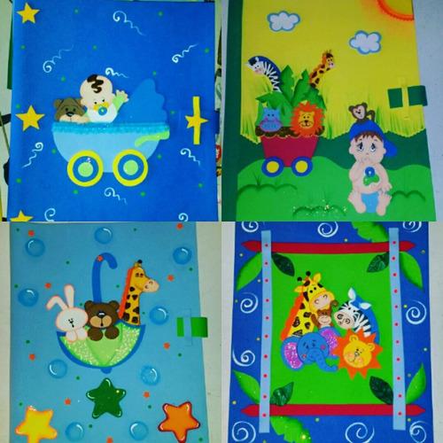 carpetas decoradas en foami, control prenatal niñas y niños