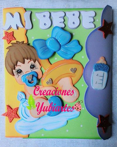 carpetas decoradas en foami, control prenatal personalizadas