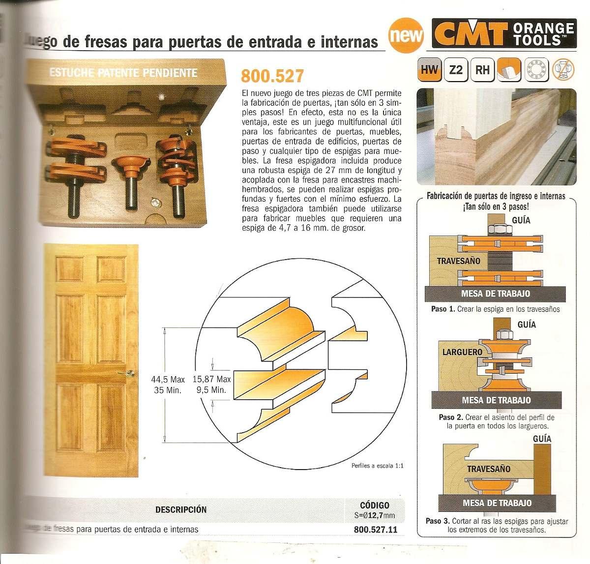 Fresa de moldura y contramoldura para puertas herramientas de for Descripcion de puertas de madera