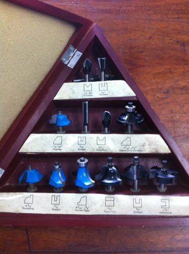 carpinteria set de 12 piezas 3 flutes 1/4  caña fresas  wp12