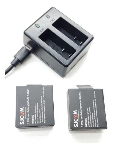 carregador + 2baterias sjcam sj4000 sj5000 original-dudacell