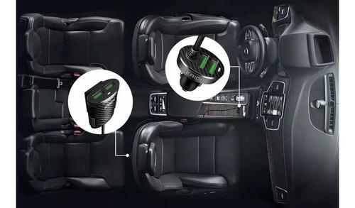 carregador 4 portas veicular turbo usb 5.1a + suporte painel