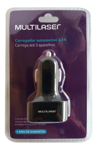 carregador automotivo multilaser cb074 3 saidas p/ android