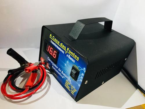 carregador bateria 12v carro, moto nautica 20ah até 300a