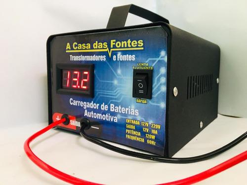 carregador bateria 12v carro moto nautica  20ah até 300a