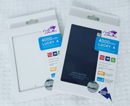 carregador/ bateria portátil luck amazonia 4000 ma - android e iphone