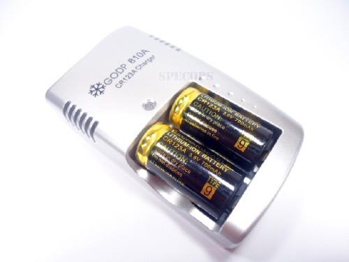 carregador cr123a lithium + duas baterias recarregáveis