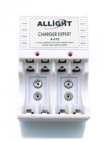 carregador de 4 pilhas aa/aaa e bateria 9v allight a-612