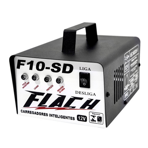 carregador de bateria 10a - 12v - cinza