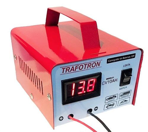 carregador de bateria 12v carro e moto 10ah com voltimetro