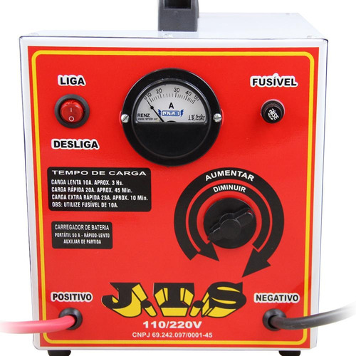 carregador de bateria 50a 6/12v com auxiliar de partida jts