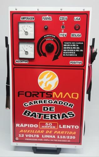 carregador de bateria automotivo 50a c/ aux. partida jts-002