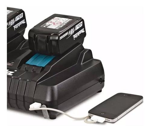 carregador de bateria duplo 18v makita c/ usb dc18rd 127v